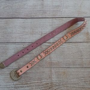 COUNTRY THEMED LEATHER AND RHINESTONE BELT 28""
